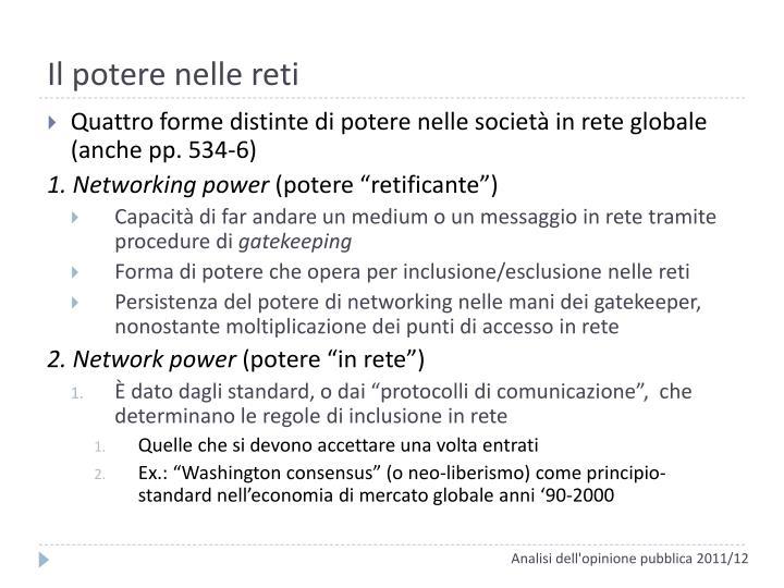 Il potere nelle reti