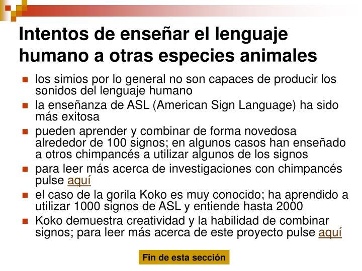 Intentos de enseñar el lenguaje humano a otras especies animales