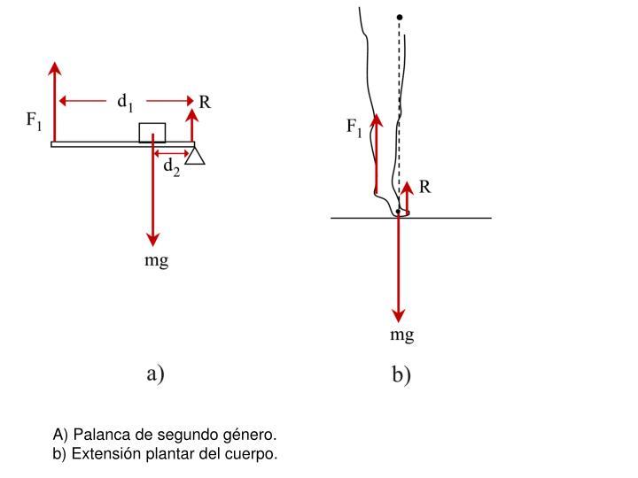 A) Palanca de segundo género.