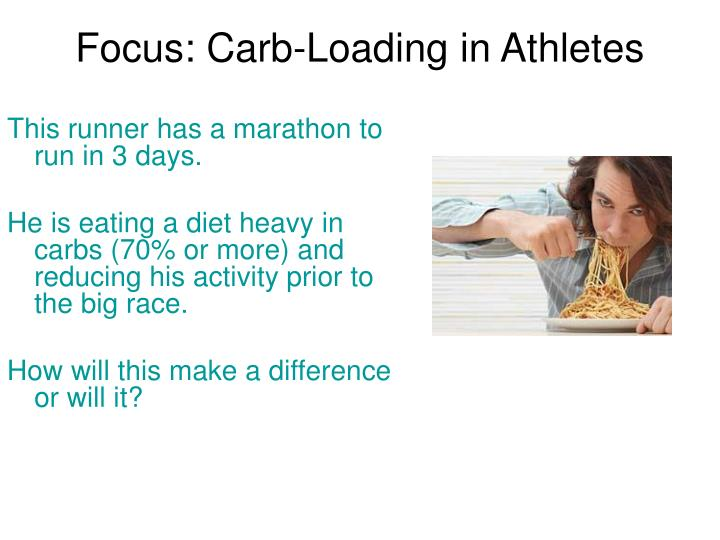 Focus carb loading in athletes