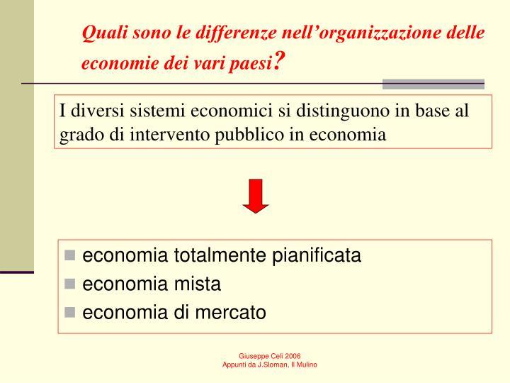 Quali sono le differenze nell'organizzazione delle economie dei vari paesi