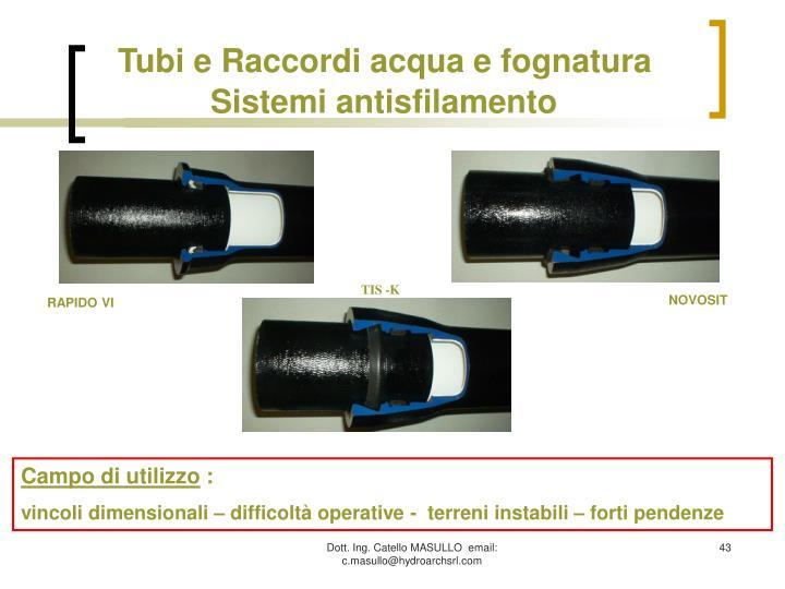 Tubi e Raccordi acqua e fognatura