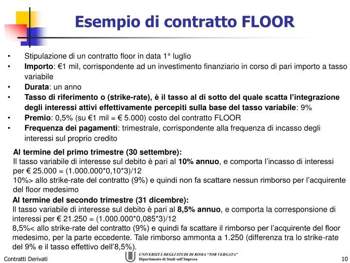 Esempio di contratto FLOOR