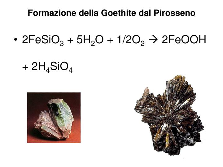 Formazione della Goethite dal Pirosseno