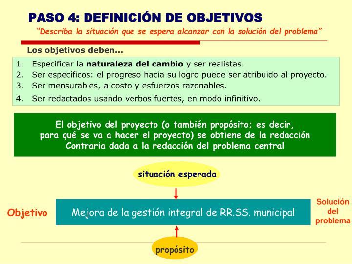 PASO 4: DEFINICIÓN DE OBJETIVOS