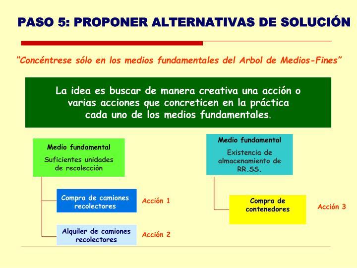 PASO 5: PROPONER ALTERNATIVAS DE SOLUCIÓN