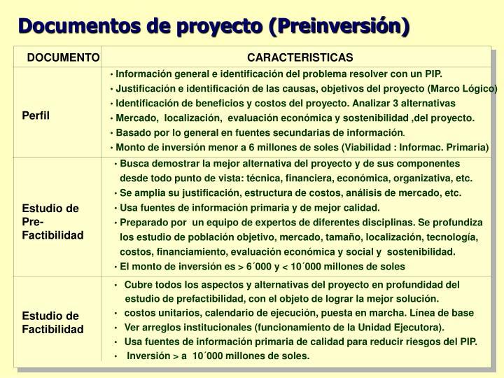 Documentos de proyecto (Preinversión)