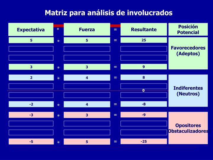 Matriz para análisis de involucrados