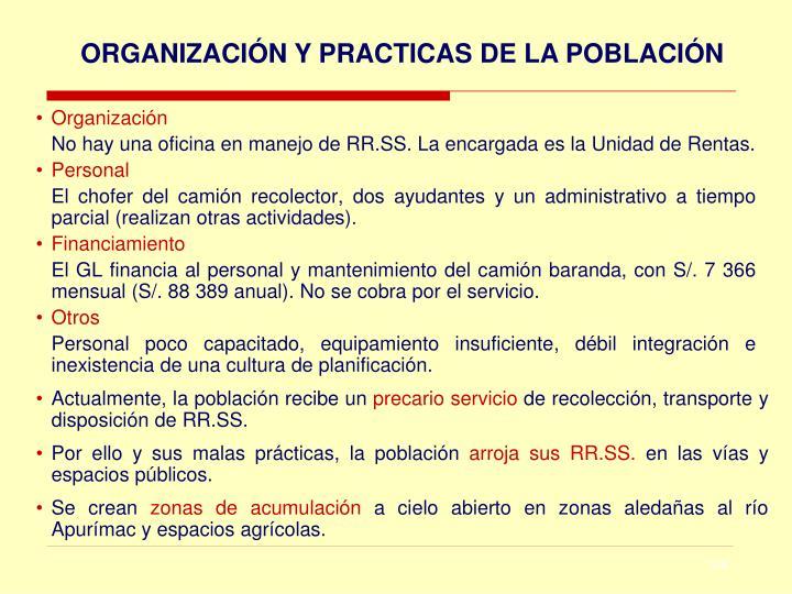 ORGANIZACIÓN Y PRACTICAS DE LA POBLACIÓN