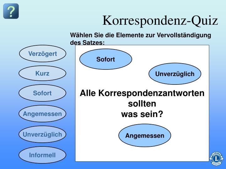 Korrespondenz-Quiz