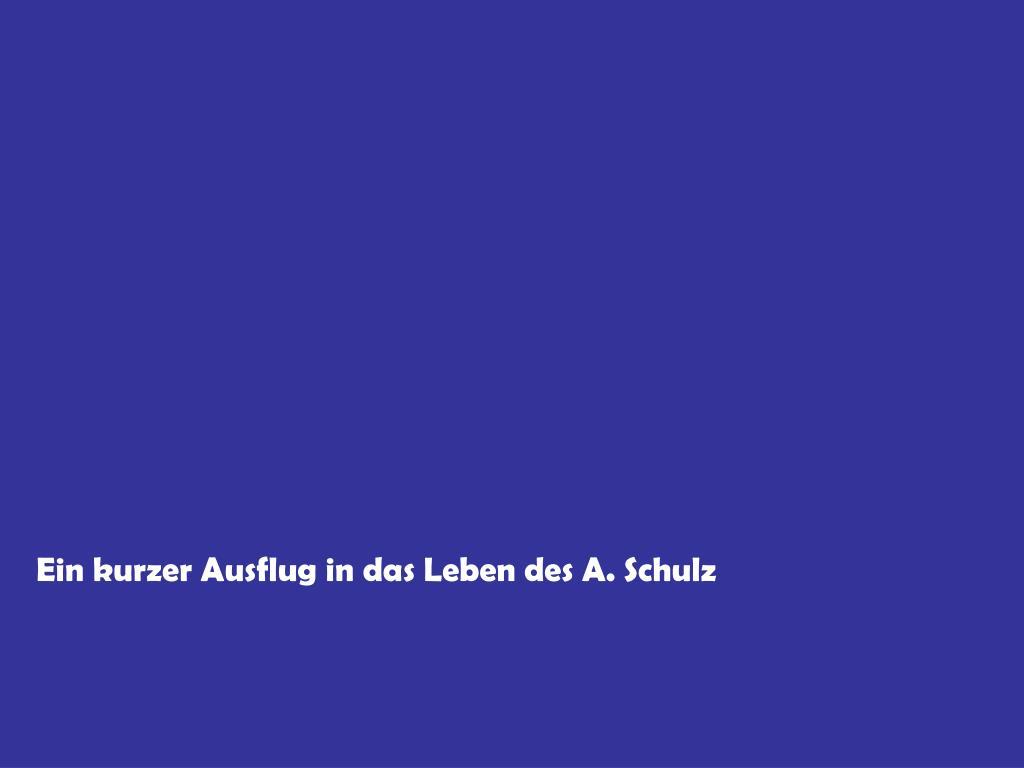 Ein kurzer Ausflug in das Leben des A. Schulz
