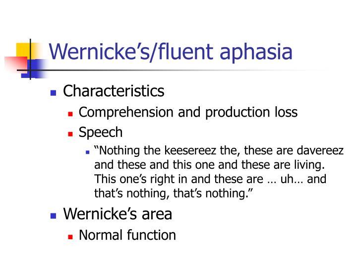 Wernicke's/fluent aphasia