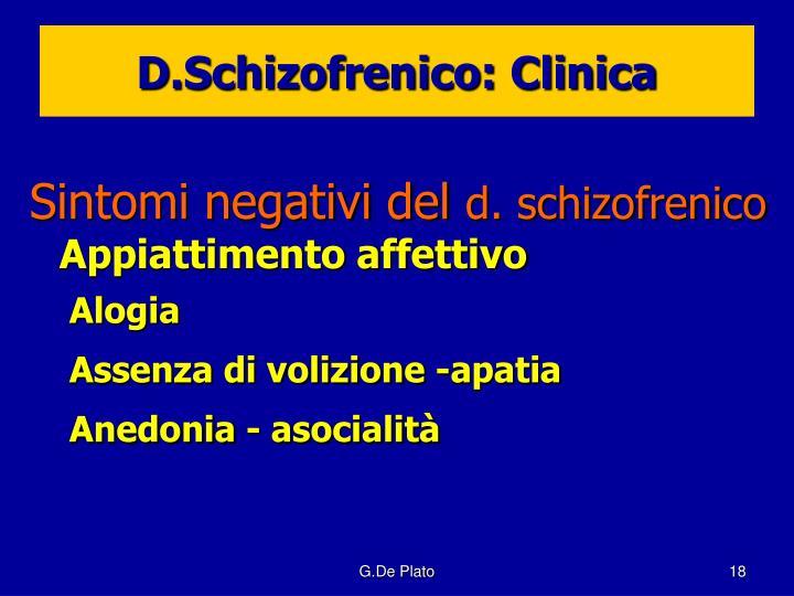 D.Schizofrenico: Clinica