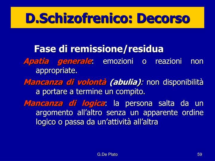 D.Schizofrenico: Decorso