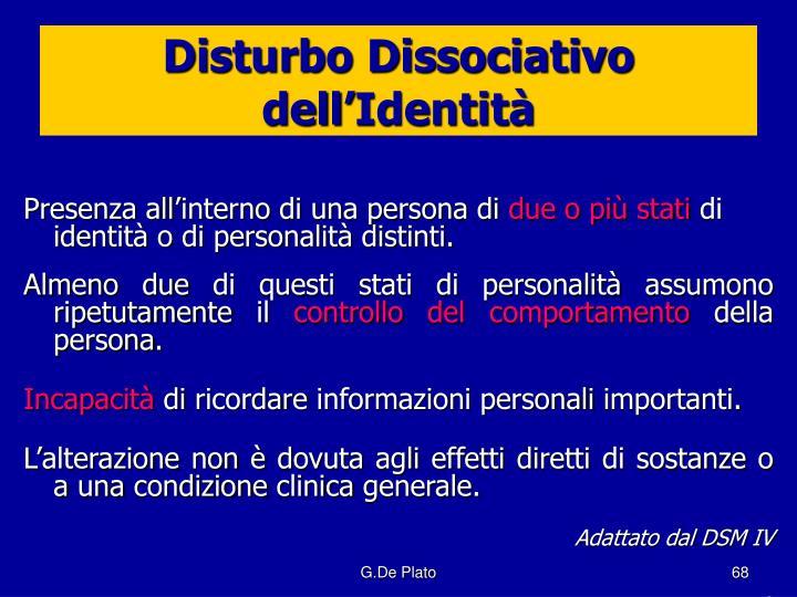 Disturbo Dissociativo dell'Identità