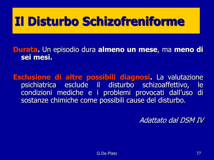 Il Disturbo Schizofreniforme