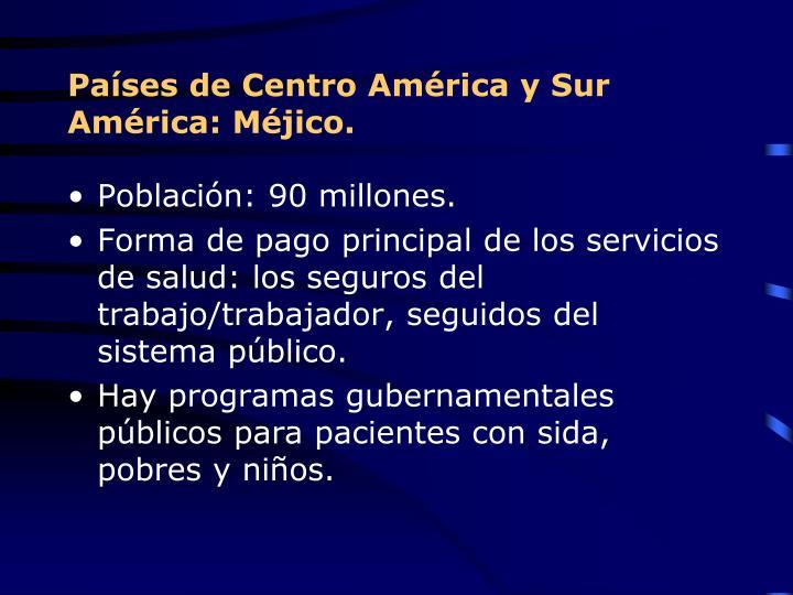 Países de Centro América y Sur América: Méjico.