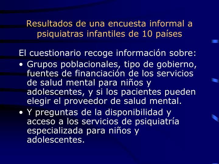 Resultados de una encuesta informal a psiquiatras infantiles de 10 países