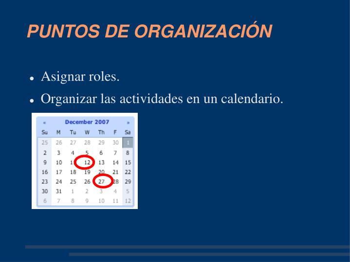 PUNTOS DE ORGANIZACIÓN
