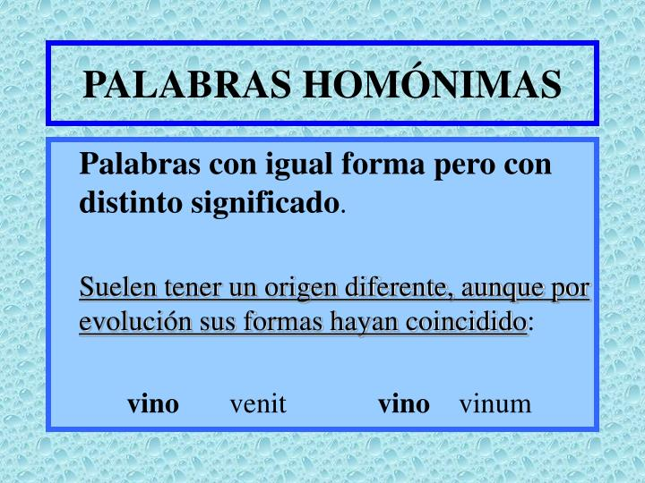 PALABRAS HOMÓNIMAS
