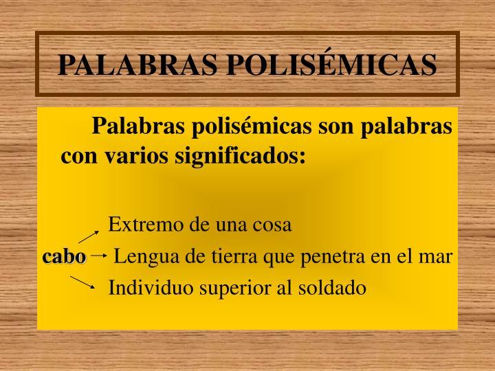 PALABRAS POLISÉMICAS