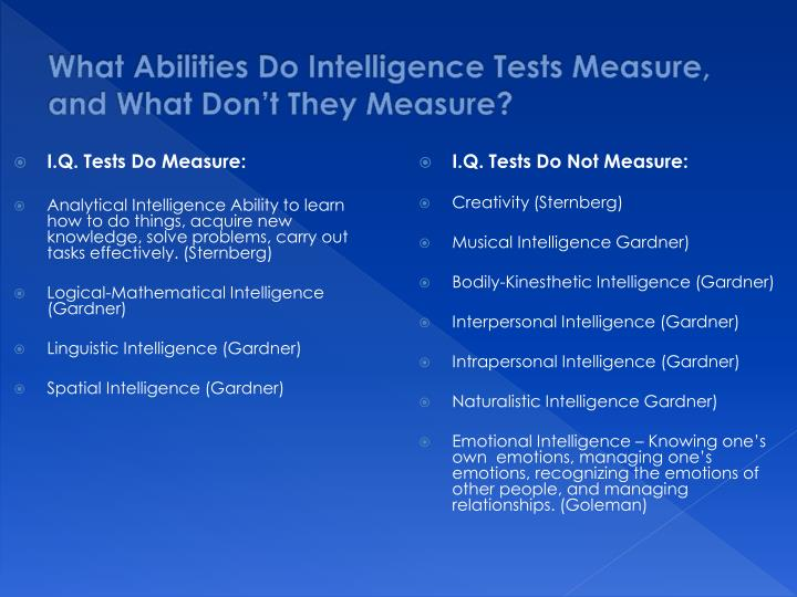 What Abilities Do Intelligence Tests Measure, and What Don't They Measure?