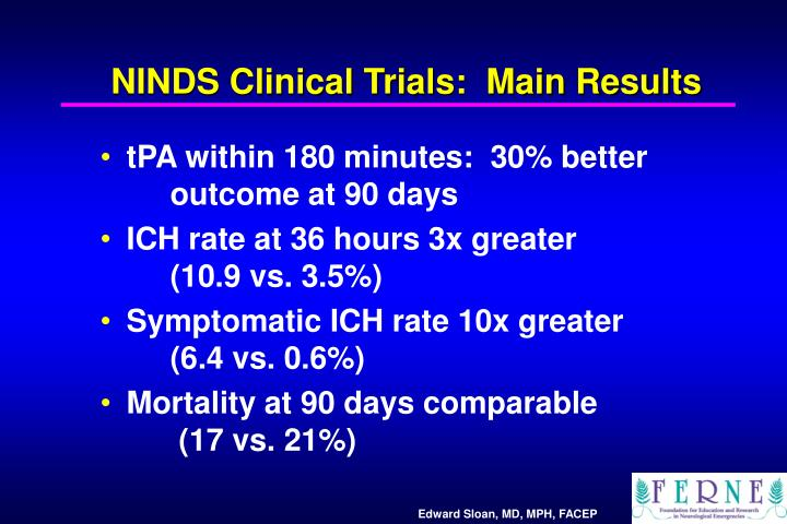 NINDS Clinical Trials:  Main Results