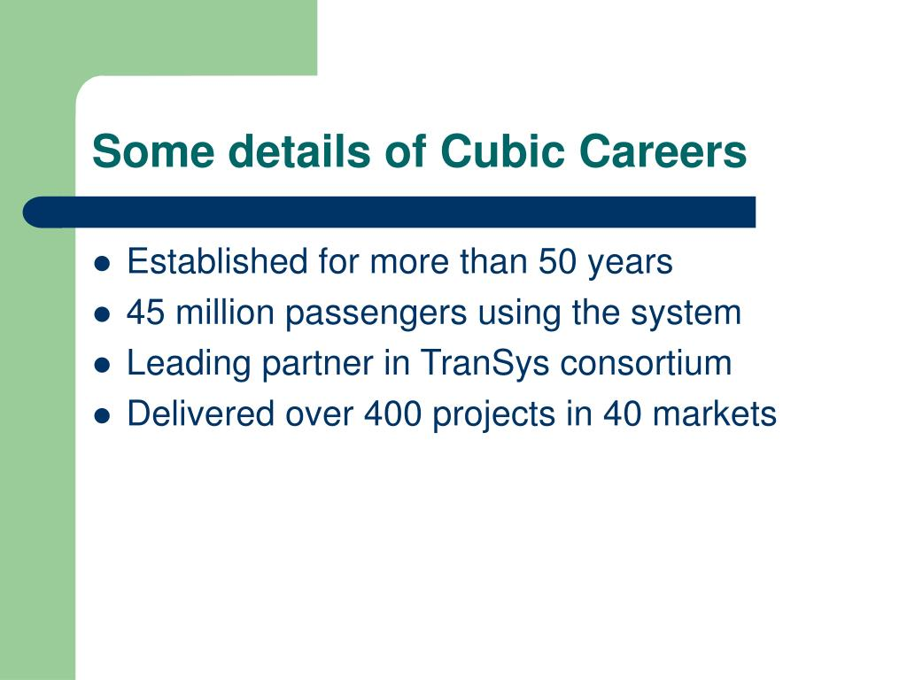 Some details of Cubic Careers