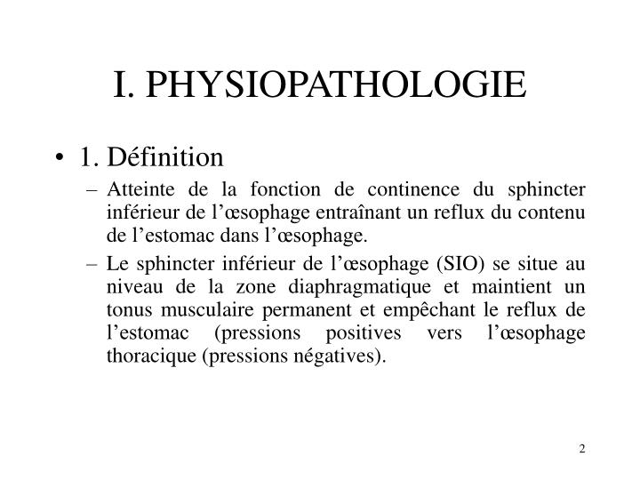 I. PHYSIOPATHOLOGIE