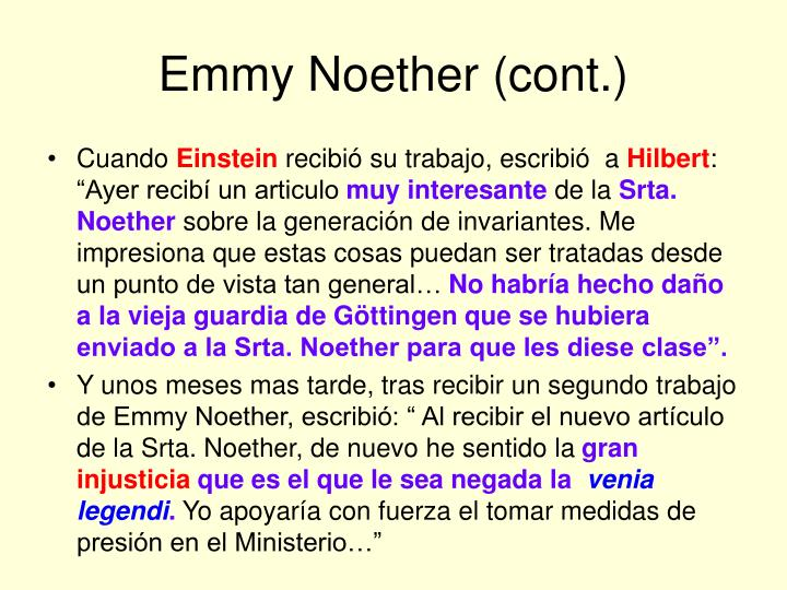 Emmy Noether (cont.)