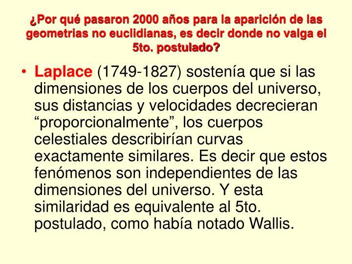 ¿Por qué pasaron 2000 años para la aparición de las geometrias no euclidianas, es decir donde no valga el 5to. postulado?