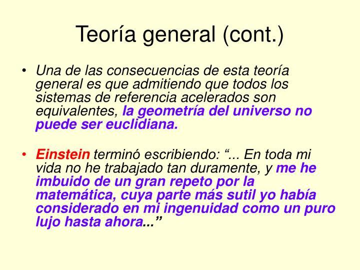 Teoría general (cont.)