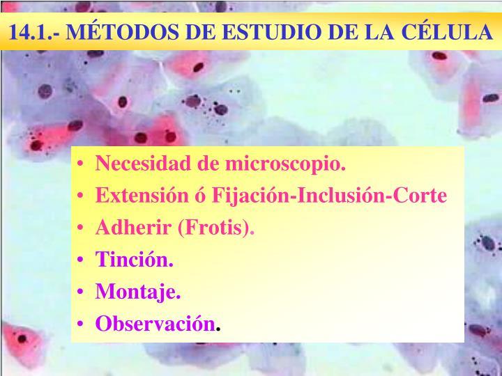 14.1.- MÉTODOS DE ESTUDIO DE LA CÉLULA