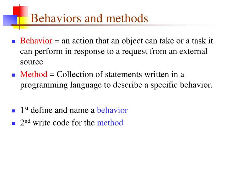Behaviors and methods