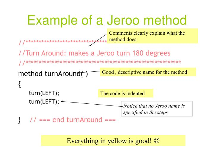 Example of a Jeroo method