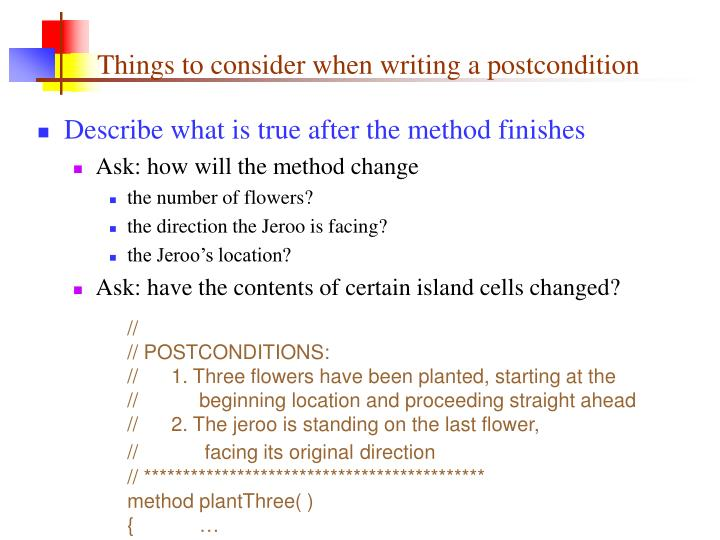 Things to consider when writing a postcondition