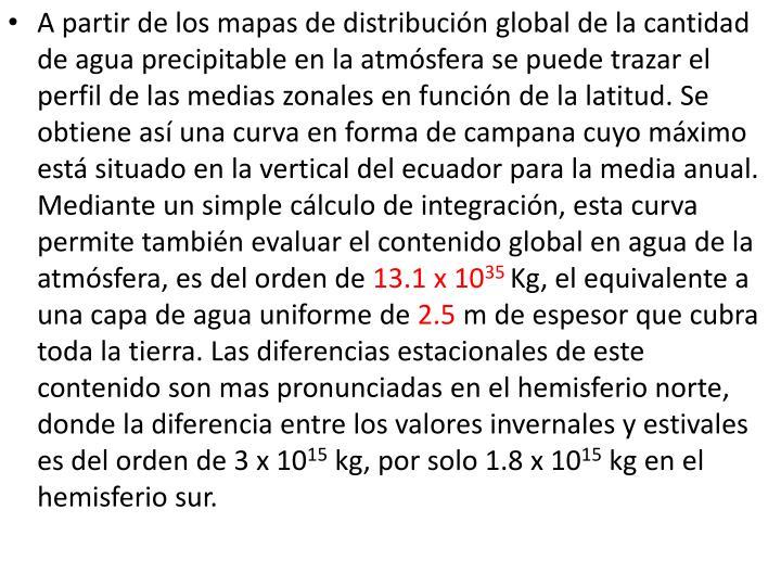 A partir de los mapas de distribucin global de la cantidad de agua precipitable en la atmsfera se puede trazar el perfil de las medias zonales en funcin de la latitud. Se obtiene as una curva en forma de campana cuyo mximo est situado en la vertical del ecuador para la media anual. Mediante un simple clculo de integracin, esta curva permite tambin evaluar el contenido global en agua de la atmsfera, es del orden de