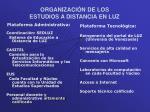 organizaci n de los estudios a distancia en luz