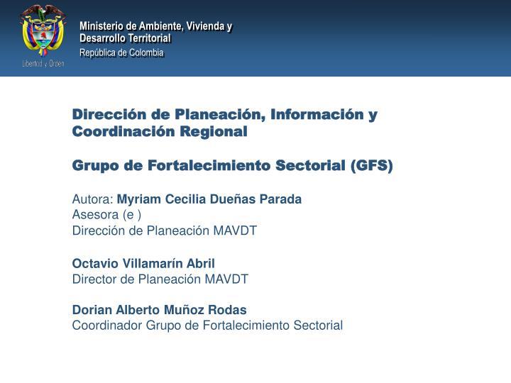 Dirección de Planeación, Información y Coordinación Regional