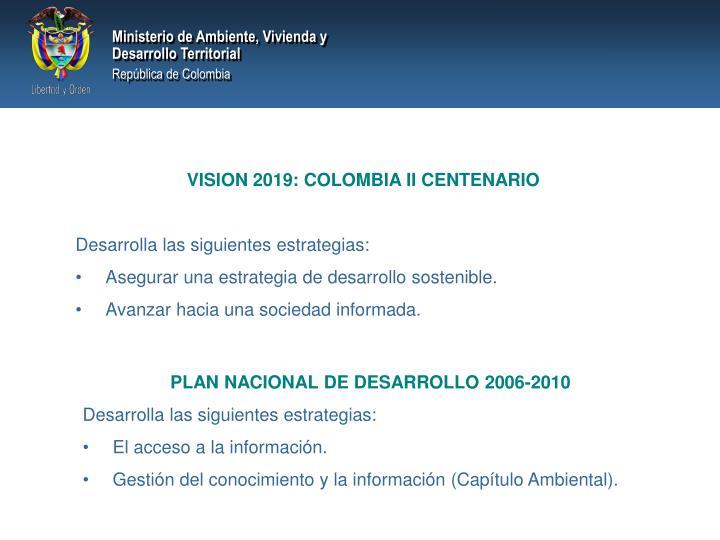 VISION 2019: COLOMBIA II CENTENARIO