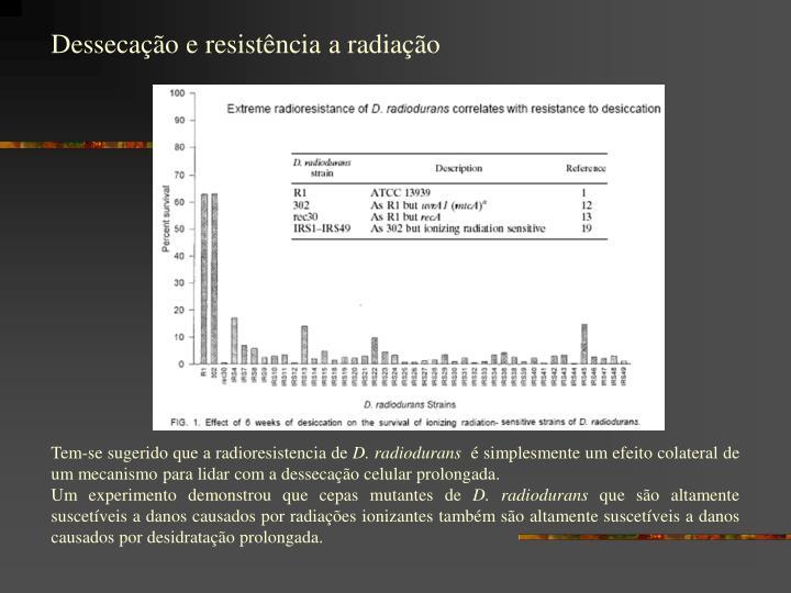 Dessecação e resistência a radiação