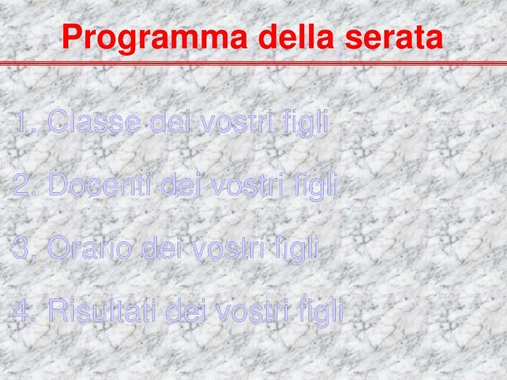 Programma della serata