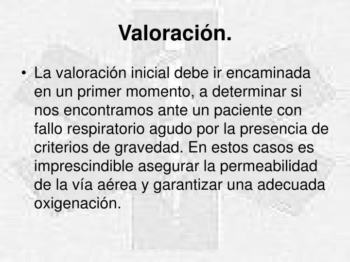 Valoración.