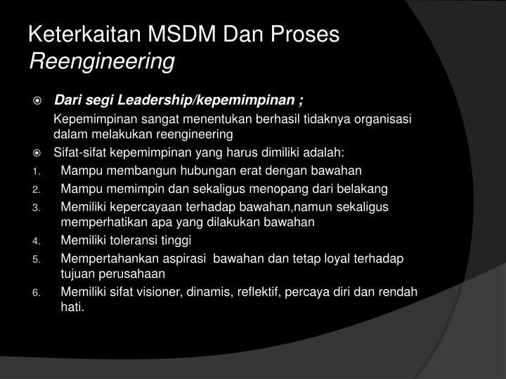 Keterkaitan MSDM Dan Proses