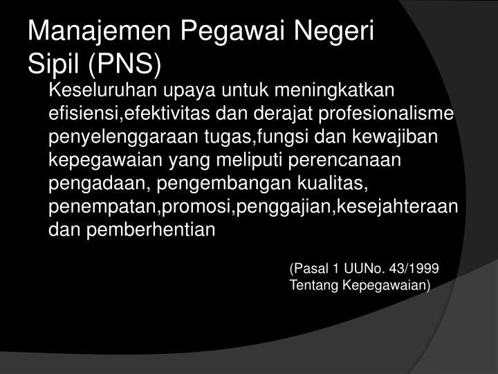 Manajemen Pegawai Negeri Sipil (PNS)