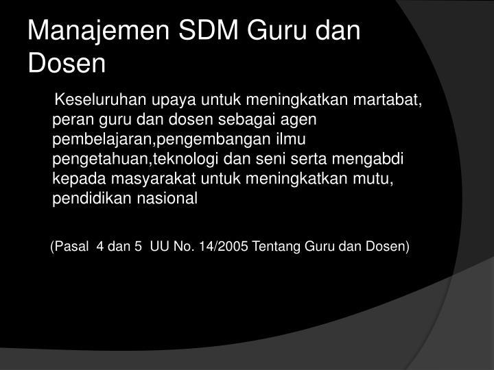 Manajemen SDM Guru dan Dosen