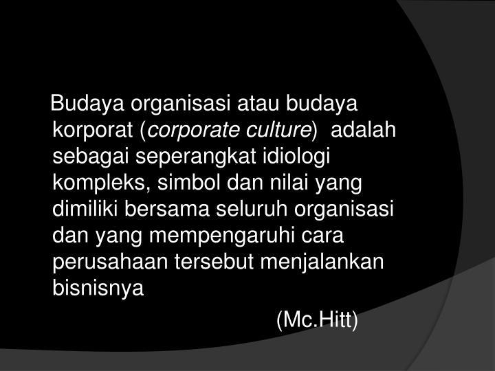 Budaya organisasi atau budaya korporat (