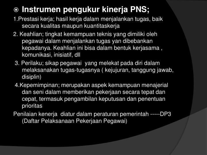 Instrumen pengukur kinerja PNS;