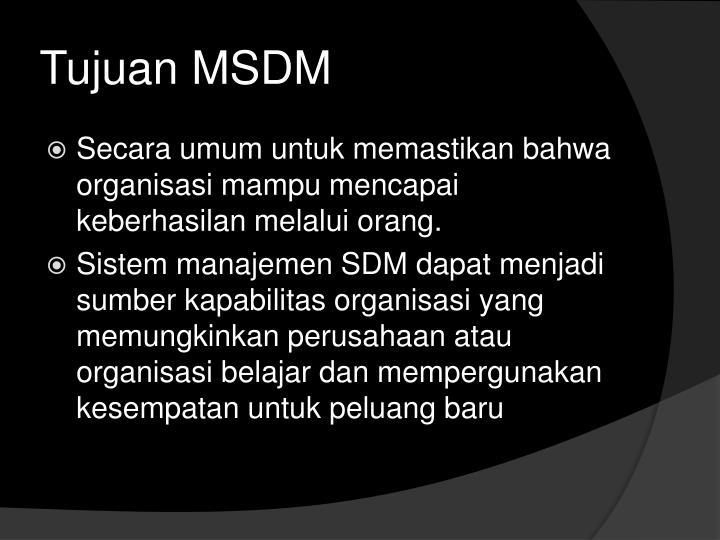 Tujuan MSDM