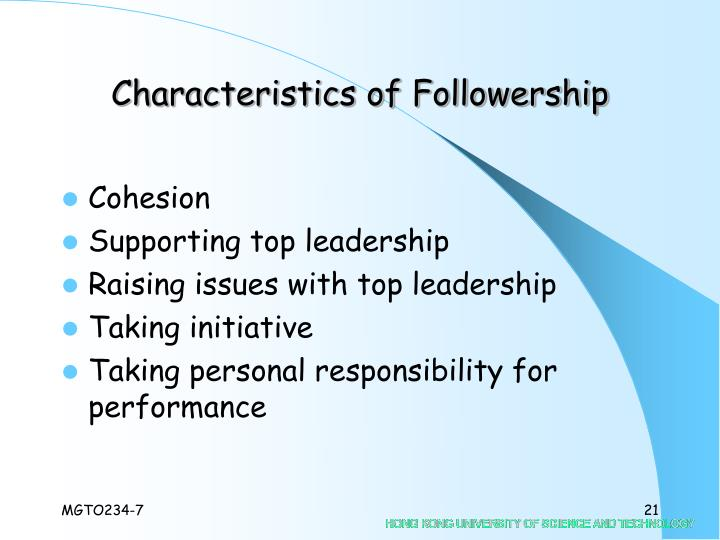 Characteristics of Followership